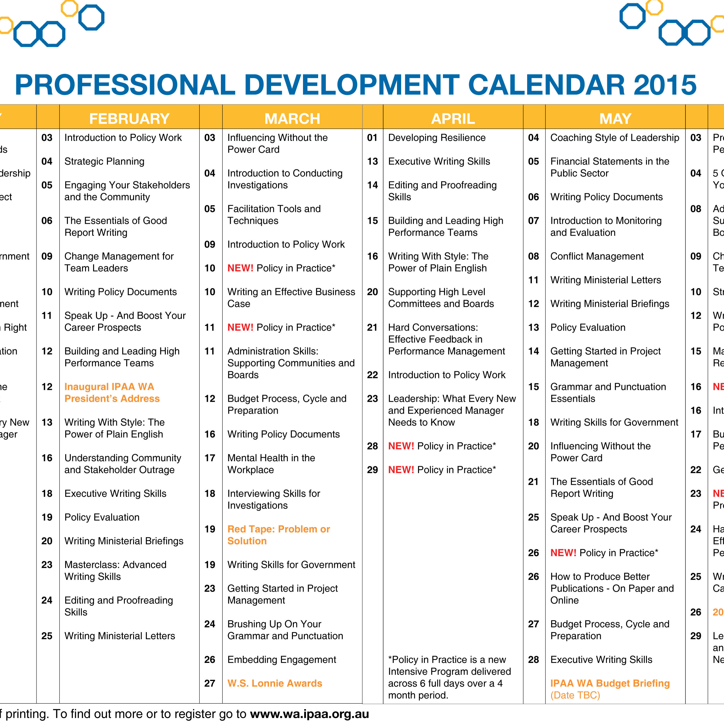2019 JUL - DEC PD Calendar Now Available
